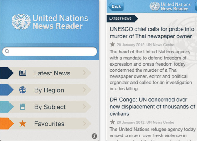Recently Launched iOS App: United Nations News Reader from the UN News Centre