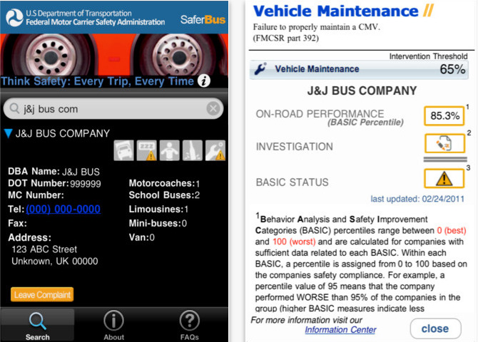 New iOS App: Consumers Take the Driver's Seat on Safety with Federal Motor Carrier Safety Administration's SaferBus